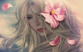 Обои цветок, девушка, портрет, блондинка