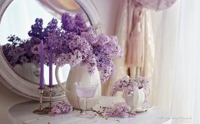 Картинка цветы, свечи, натюрморт, сирень