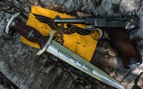 Картинка пистолет, оружие, Парабеллум, P08, Люгера, Luger, кортик