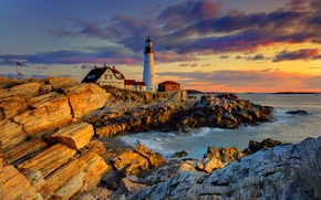 Картинка небо, облака, закат, дом, камни, скалы, маяк, вечер, сша, portland
