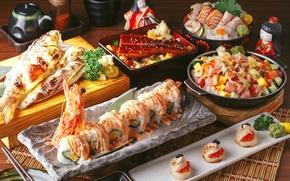 Обои икра, рис, роллы, рыба, салат, суши