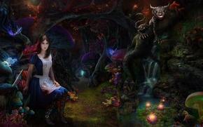 Картинка лес, кот, девушка, грибы, чаща, арт, Alice Madness Returns, чеширский