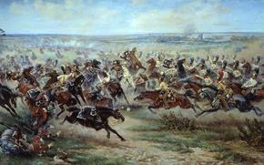 Картинка поле, война, дым, художник, солдаты, битва, русские, конница, французы, мазуровский, отечественная война