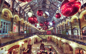 Картинка Christmas, London, decoration, Covent Garden Market, Engalnd