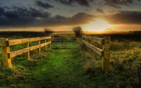 Картинка sunset, fence, bright and dark