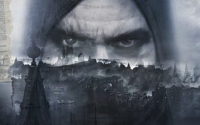 Картинка глаза, взгляд, город, птица, башня, дома, капюшон, вор, Eidos Interactive, 2014, Thief, Garrett, Eidos Montreal, …