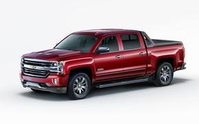 Картинка Chevrolet, белый фон, шевроле, пикап, Silverado, сильверадо