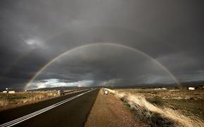 Картинка трава, облака, радуга, Дорога