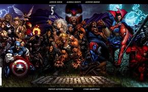 Обои железный человек, человек паук, тор, фантастическая четверка, рассомаха, люди икс, халк, капитан америка