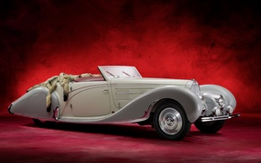 Обои bugatti, type 57c, cabriolet, retro, old car