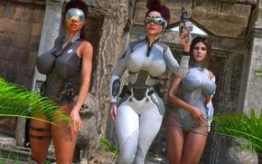 Картинка грудь, девушка, пистолет, фантастика, очки, красавица, scarlett johansson
