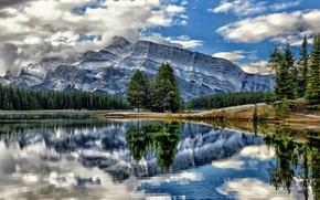 Картинка деревья, горы, озеро, отражение, Канада, Альберта, Banff National Park, Alberta, Canada, Банф, Mount Rundle, Vermillion …