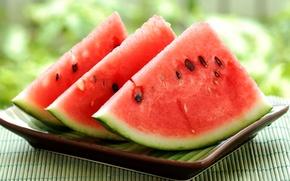 Картинка лето, тарелка, арбуз, watermelon, ломтики