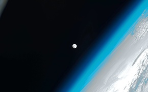 Обои Земля, Луна, МКС, фото NASA, атмосфера