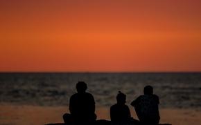 Картинка sea, sunset, people, silhouettes