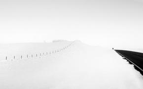 Картинка дорога, снег, человек
