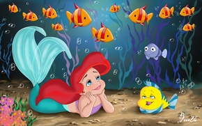 Обои рыба-луна, ребёнок, Walt Disney, фанарт, принцесса, прелесть, русалка, fanart, детство, movie, море, princess, Уолт Дисней, ...
