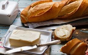 Картинка масло, еда, завтрак, хлеб, нож, багет, батон