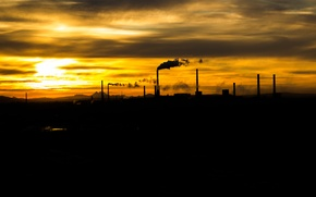Картинка трубы, город, дым, заводы