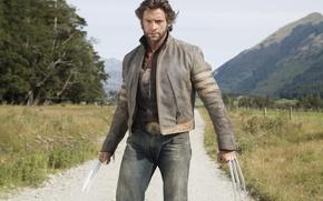 Картинка взгляд, горы, куртка, пыль, люди икс, песок, мужчина, хью джекман, hugh jackman, красавчик, ножи, wolverine, ...