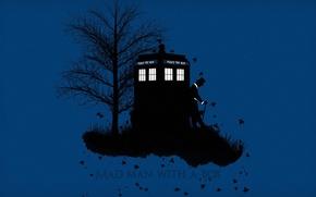 Обои осень, трава, листья, фон, дерево, шляпа, силуэт, трость, будка, Doctor Who, цилиндр, Доктор Кто, ТАРДИС, ...