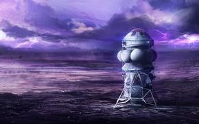 Картинка гроза, небо, тучи, планета, аппарат