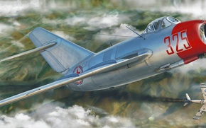 Картинка war, art, airplane, painting, aviation, jet, Mikoyan-Gurevich MiG-15