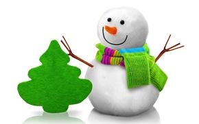 Обои snowman, 3d, cute, christmas, new year, christmas tree