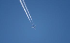 Картинка небо, минимализм, самолёт