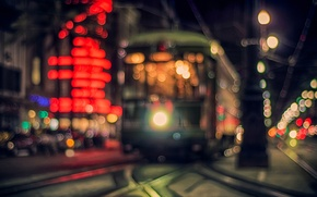 Картинка дорога, свет, ночь, город, огни, вечер, фонари, трамвай, боке