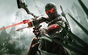 Картинка город, апокалипсис, лук, джунгли, стрела, нанокостюм, Crytek, Crysis 3