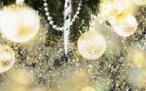 Картинка веселье, праздник, фон, ёлка, игрушки, украшения, обои, огни, гирлянды, новый год, настроение