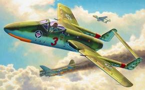 Картинка art, airplane, painting, aviation, jet, ww2, project, Focke-Wulf Flitzer, Focke-Wulf Project VII Flitzer