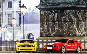 Картинка mustang, фонари, ford, chevrolet camaro, muscle cars