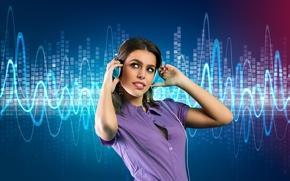 Картинка девушка, музыка, фон, music, наушники, girl, headphones, background, мелодии, ringtones