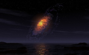 Картинка море, ночное небо, галактика