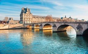 Картинка мост, город, Париж, Сена