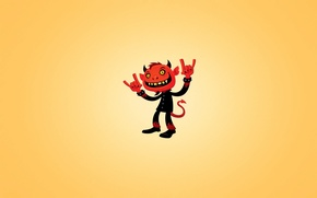 Обои красный, улыбка, минимализм, хвост, рога, heavy metal, red devil