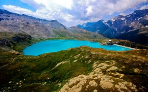 Картинка небо, трава, облака, снег, горы, озеро