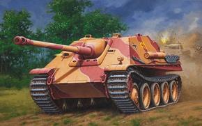 Картинка рисунок, арт, Jagdpanther, самоходно-артиллерийская установка, (САУ), WW2, немецкая, Ягдпантера