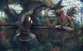 Обои девочка, дерево, ангел