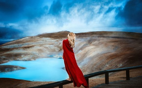 Картинка небо, девушка, природа, плащ