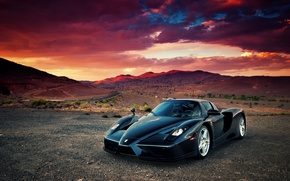 Картинка облака, закат, пустыня, supercar, Ferrari Enzo, феррари енцо