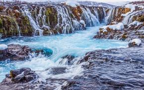 Обои снег, горы, Исландия, водопад, поток, скалы, река