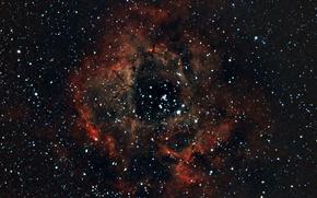Картинка космос, звезды, Туманность, Розетка, Единорог, NGC 2237, в созвездии, Rosette