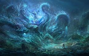 Картинка человек, монстр, трезубец, чудовище, Нептун, морское дно, The sea monster, Wang Nan