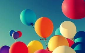 Картинка небо, шарики, фон, widescreen, шары, обои, настроения, цветные, wallpaper, воздушные, широкоформатные, background, полноэкранные, HD wallpapers, …