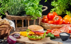 Картинка макро, еда, Fresh vegetables as ingredients for homemade hamburger