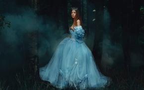 Картинка дым, платье, девушка, лес, Rosie Hardy