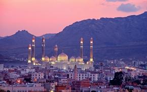 Картинка горы, здания, панорама, Йемен, Yemen, Мечеть Аль-Салех, Сана, Sanaa, Al Saleh Mosque